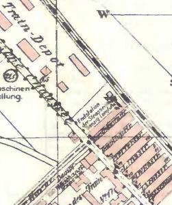 Pierwotna pętla tramwajowa na fragmencie mapy Wrzeszcza z 1914 roku (zbiory BG PAN)