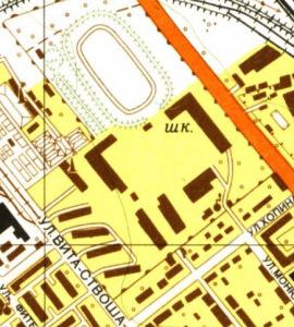 PSB na radzieckim planie topograficznym Gdańska z 1959 roku (źródło: mapy.eksploracja.pl)
