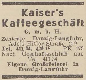 Reklama gdańskiej centrali Kaisera w księdze adresowej z 1935 roku (Pomorska Biblioteka Cyfrowa – pbc.gda.pl)