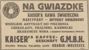 """Reklama gdańskiej centrali Kaisera w """"Gazecie Gdańskiej"""" z 13.12.1935 roku. Jak widać, oferowany asortyment był bardzo szeroki, obejmował także… wina. (źródło: Pomorska Biblioteka Cyfrowa – pbc.gda.pl)"""