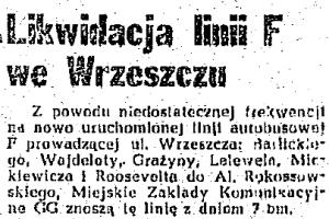 Notka o likwidacji linii F w Dzienniku Bałtyckim (7 X 1947)