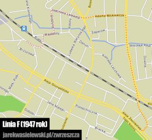 Trasa linii F na współczesnym planie miasta (bazowa mapa: Trójmiasto.pl)