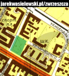 Fragment radzieckiej mapy Gdańska z 1959 roku, omawiany skwerek oznaczono kolorem zielonym (źródło: mapy.eksploracja.pl)